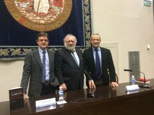Gérard Dufour, Ignacio Peiró y Pedro Rújula. Paraninfo de la Universidad de Zaragoza, 26-2-2015