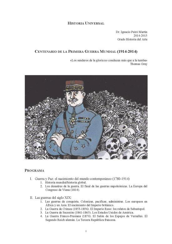 Portada Programa. Historia Universal 2014-2015